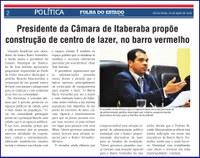 Presidente da Câmara de Itaberaba propoe construção de centro de lazer, no barro vermelho